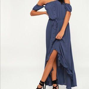 Lulus off the shoulder blue dress size large
